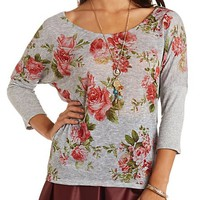 Sheer Floral Print Dolman Top