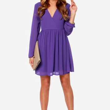 LULUS Exclusive Wrapquest Long Sleeve Purple Dress