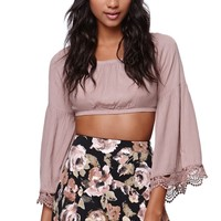 Cotton Candy Crop Bell Sleeve Top - Womens Shirts - White -