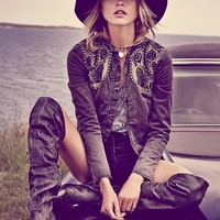 Free People Womens Decadent Embroidered Jacket - Black