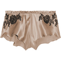 Carine Gilson - Lace-trimmed silk-satin briefs