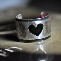 Black Hearted Sterling Silver Hammered RingRed by MarrenJewelry