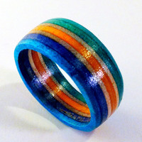 Recycled Skateboard Wood Ring Size 10 by SkateBetty on Etsy