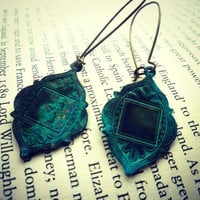 Bohemian Earrings In Verdigris Patina. Kidney Ear Wire In Brass. Bohemian Jewelry. Arabian Medallion | Luulla