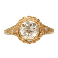 Hand Crafted Old European Cut Diamond Engagement Ring