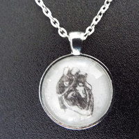 Human Heart Drawing Pendant Necklace