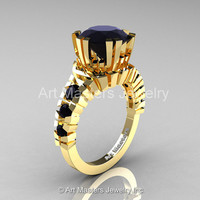 Modern 14K Yellow Gold 3.0 Ct Black Diamond Solitaire Wedding Anniversary Ring R325-14KYGBD