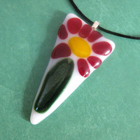 Fused Glass Necklace Triangle Flower Red Green Miracle of Life by mysassyglass