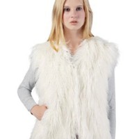 Sucette Rose Faux Mongolian Fur Vest in Black or White