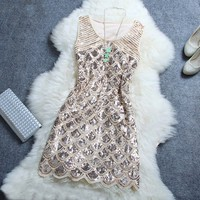 Fashion sexy sequined dress (Beige)