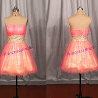2014 juniors dress for homecoming party,short  tulle prom dresses in two shade of colors,chic cheap women gowns under 100.