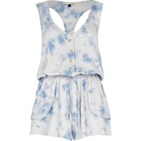 blue dip dye print playsuit - River Island