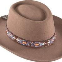 Felt Gambler Hat with Indian Beaded Hat band
