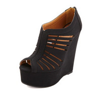 QUPID LASER-CUT SLIT PEEP TOE PLATFORM WEDGES