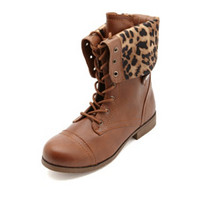 CHEETAH-LINED FOLD-OVER COMBAT BOOTS