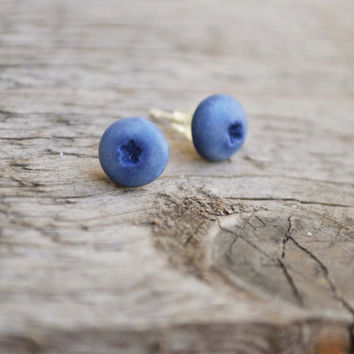Rustic jewelry, blueberry earring, blueberry studs, blueberry jewelry, rustic studs,polymer clay jewelry, rustic earring, polymer clay studs
