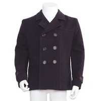 Shyla Coats Boys Navy Double Breasted Wool Pea Coat 6-16