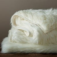 Faux-Fur Long Shaggy Ivory Throw, 50 x 60""