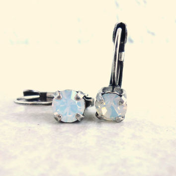 Swarovski crystal earrings, drop lever back, 6mm cute bling, white opal, designer inspired crystal earrings