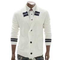 Doublju Mens Button Front Cardigan Sweater (NAK02)