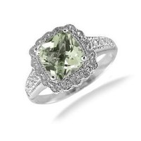 7MM Cushion Cut Green Amethyst Ring In Sterling Silver 1.50 CT In Size 5 (Available In Sizes 5-9)
