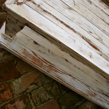 Wood - Coffee Table - Shabby Furniture - Cottage Chic, Handmade - Cottage - Wooden Stained, Painted