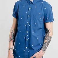 Blue Swirl Design Embroidered Short Sleeve Shirt - Men's Shirts - Clothing - TOPMAN USA