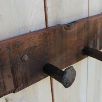 Railroad - Coat Rack - Wall Hooks - 40 Inches 7 Spikes - Handcrafted - Your Choice of Color or Natural Wood