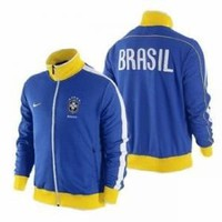 Nike Men`s Brazil CBF Soccer Futbol Jacket Blue Size M 370285-493