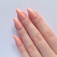 Pastel Peach Stiletto nails, Nail designs, Nail art, Nails, Stiletto nails, Acrylic nails, Pointy nails, Fake nails