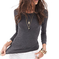 Heathered Long-Sleeve Top