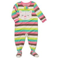 Carter's Striped Fleece Kitty Footed Pajamas