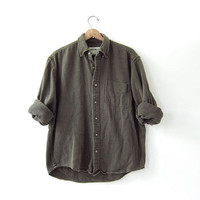 Vintage army green shirt.  button up shirt. pocket shirt. grunge punk.