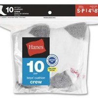 Hanes Boys Red Label Cushion Crew 10 pr White w/ Grey Heel and Toe Medium