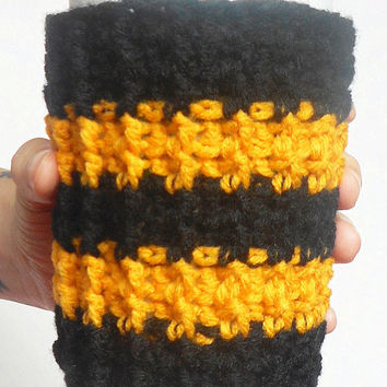 New Orleans Team Coffee Cozy in Black and Gold, ready to ship.