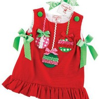 Mud Pie Red Corduroy Jumper With Ornaments