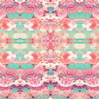 Pink Floral Teal Fashion Kaleidoscope Pattern Art Print by Girly Trend