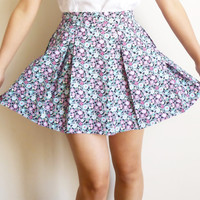 Multicolored Cotton Pleated Skirt with Little Daisy by SimplybyAmy