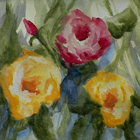Garden Roses Botanical Nautres Watercolor Art by grandhorse