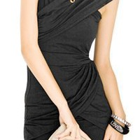 Allegra K Ladies Sleeveless Cross Neck Close Fitting Dress Black XS