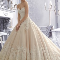 Mori Lee 2674 Alencon Strapless Lace Tulle Ball Gown / Lace Wedding Dress with Sweetheart Neckline - Ball Gown, Strapless, Sweetheart