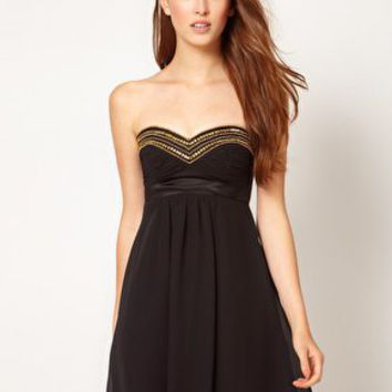 Elise Ryan Gold Trim Babydoll Dress