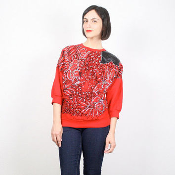 Vintage Red T Shirt Leopard Print CAT Print Cat Face Silver Glitter Slouchy Shirt Top Ugly Sweater Party Pleather Top New Wave Glam M Medium