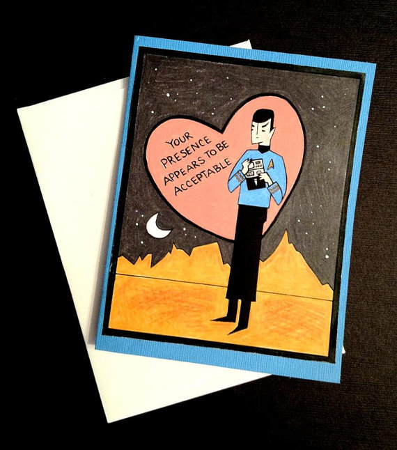 $4.00 Star Trek Spock Valentine&#x27;s Day Card by LeaseAPenny on Etsy