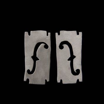 $62.00 Music Addict earrings Hand Sawn Sterling Silver by AdeloCreations