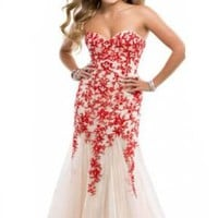 Miranda Red Evening Prom Dress Strapless Long Lace Appliques Gown Size 4-14