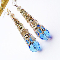 Blue drop crystal earrings » Craftori