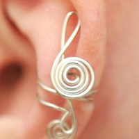 Music Ear Cuff Treble Clef tarnish resistant wire by KOZLOVA