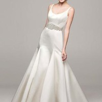 Satin Trumpet Gown with Button Back Detail - David's Bridal