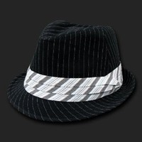 Black & White Pinstripe Basic Woven Fedora Hat Hats Size Sm/Med
